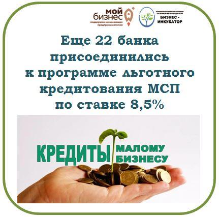 Еще 22 банка присоединились к программе льготного кредитования МСП по ставке 8,5%